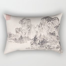 Landscape in the Style of Yan Wengui and Fan Kuan Rectangular Pillow