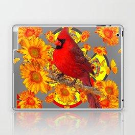 BUTTERFLIES  RED CARDINAL YELLOW SUNFLOWERS Laptop & iPad Skin