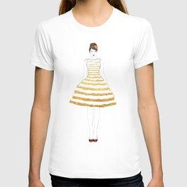 Fashion illustration stripes dress in gold T-shirt