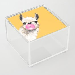 Bubble Gum Sneaky Llama in Yellow Acrylic Box