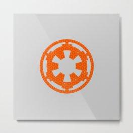 Orange Imperial Cog Over Gray Metal Print