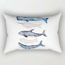 Watercolor orca whale, spermwhale, humpback, narwhal, beluga whales Rectangular Pillow