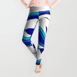 Fish and Waves Colored - Black Lines Leggings
