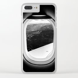 Window Seat // Scenic Mountain View from Airplane Wing // Snowcapped Landscape Photography Clear iPhone Case