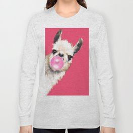 Bubble Gum Sneaky Llama in Red Long Sleeve T-shirt