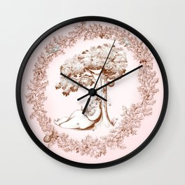 Reading Bear in the pink forest Wall Clock