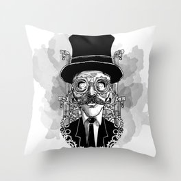 Steampunk Man Throw Pillow