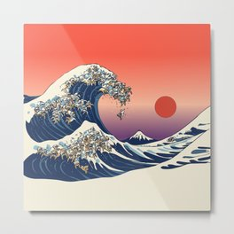 The Great Wave of English Bulldog Metal Print