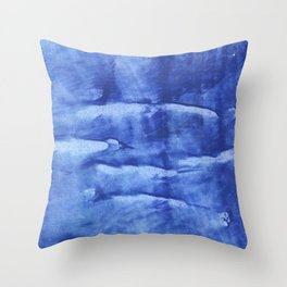 Corn flower blue abstract wash drawing painting Throw Pillow