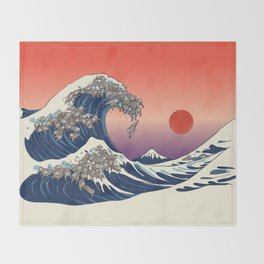 The Great Wave of Sloth Throw Blanket