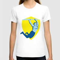 crossfit T-shirts featuring Crossfit Pull Up Bar Shield Retro by patrimonio