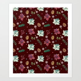 Colorful Christmas Red White Poinsettia Pine Cones Snowflakes Art Print