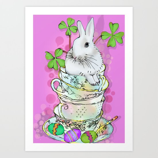 white bunny in cups Art Print