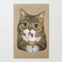 lil bub Canvas Prints featuring Lil Bub - famous cat by PaperTigress