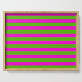 Hot Pink And Kelly Green Stripes Serving Tray