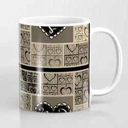 4 Square Hearts Pattern (black and gray) Coffee Mug