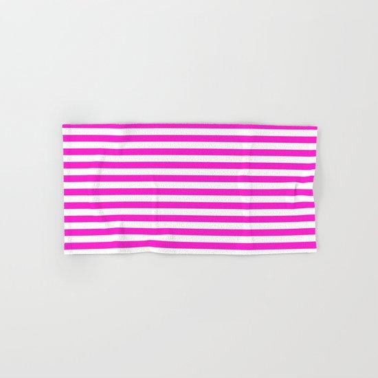 Horizontal Stripes (Hot Magenta/White) Hand & Bath Towel