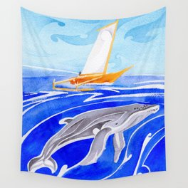 humpback whale and polynesian outrigger sail boat Wall Tapestry