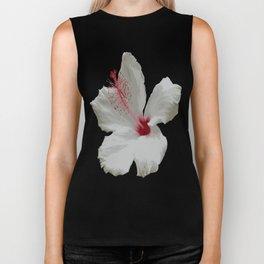 Pure White Hibiscus Tropical Flower Biker Tank