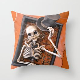 Rucus Studio Gentleman Skeleton Throw Pillow