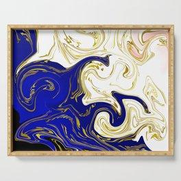 blue ,gold,rose,black,golden fractal, vibrations, circles modern pattern, Serving Tray