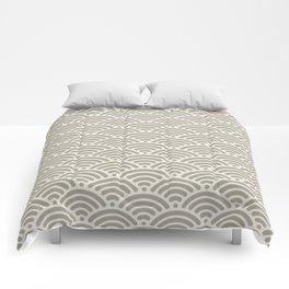 Gray Grey Alabaster Seigaiha Sea Wave Nautical Minimalist Comforters