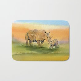 Colorful Mom and Baby Rhino Bath Mat
