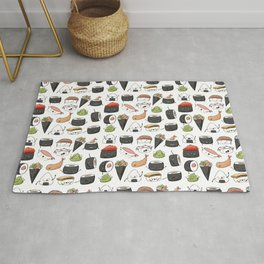 Watercolor Sushi Doodle Rug