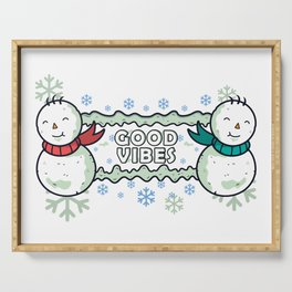 Good Vibes - Winter Snowmen and Snowflakes Serving Tray