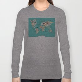 Cartoon animal world map for children and kids, Animals from all over the world back to school Langarmshirt