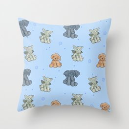baby stuffed animal pattern blue Throw Pillow