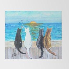 Cat Beach Sunset Throw Blanket