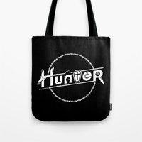 hunter Tote Bags featuring Hunter by Barn Bocock