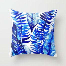 Jungle Leaves & Ferns in Blue Throw Pillow