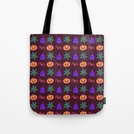 Happy halloween pumkins,web,spiders and graves pattern Tote Bag