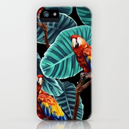 tropical leaves macaw pattern 2 iPhone Case