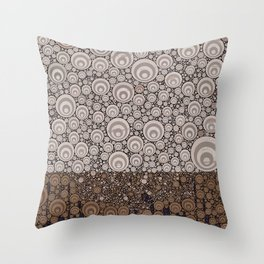 Groovy Brown Taupe Grey Circular Abstract Throw Pillow