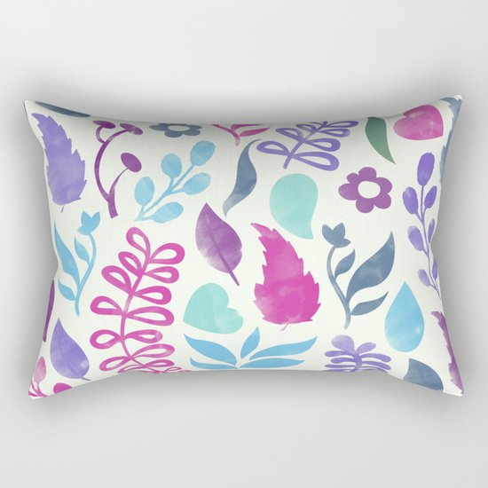 Watercolor Floral Pattern III Rectangular Pillow