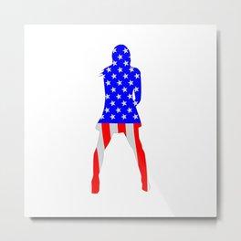 Stars And Stripes Girl Metal Print