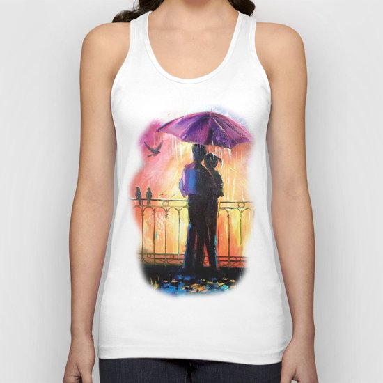 Lovers in the rain Unisex Tank Top