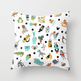 Cute Silly Wild Animals Hipster Animal Pattern  Throw Pillow