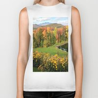 vermont Biker Tanks featuring Vermont Foliage Watercolor by Vermont Greetings