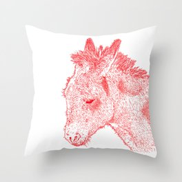 donkey drawing, red Throw Pillow