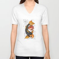 koi V-neck T-shirts featuring Koi by Tuky Waingan