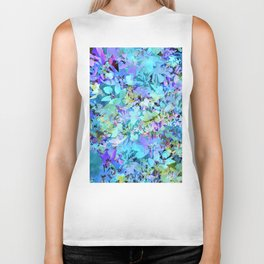 Sky Blue Poppies Biker Tank