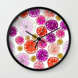 Purple and pink citrus slices Wall Clock