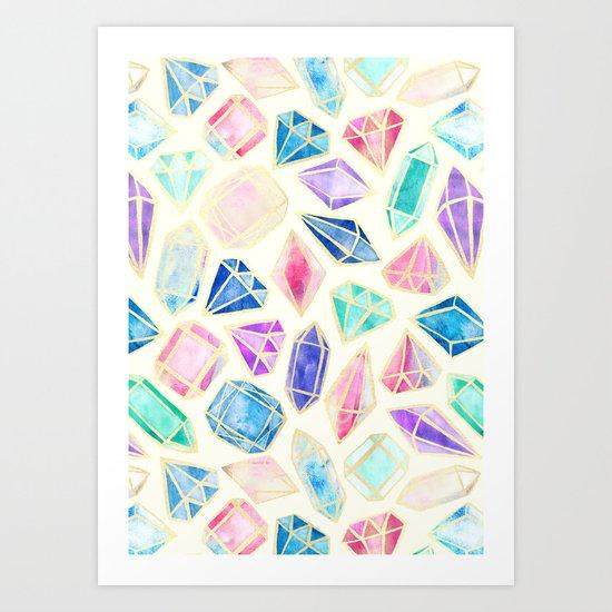 Watercolor Gems Intense Art Print