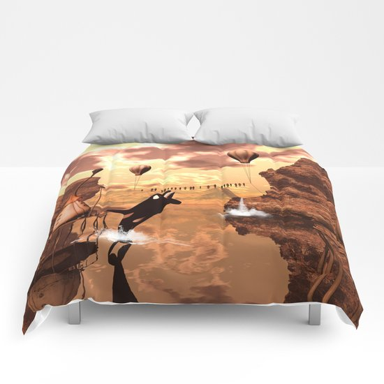 Funny orca Comforters