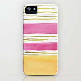 17   |181026 Lines & Color Block | Watercolor Abstract | Modern Watercolor Art iPhone Case