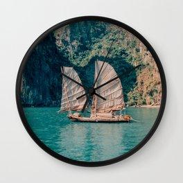 Junk on Halong Bay, Vietnam Wall Clock